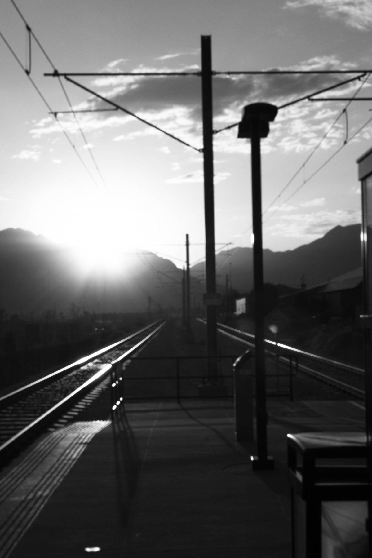 Sun-glare at Train Station(B&W)